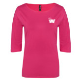 Ladies Dark Fuchsia Perfect Weight 3/4 Sleeve Tee-Waldorf W