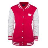 Ladies Pink Raspberry/White Fleece Letterman Jacket-Waldorf W
