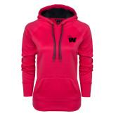 Ladies Pink Raspberry Tech Fleece Hooded Sweatshirt-Waldorf W