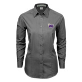Ladies Grey Tonal Pattern Long Sleeve Shirt-Waldorf W