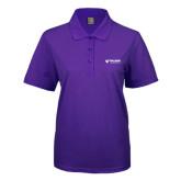 Ladies Easycare Purple Pique Polo-Waldorf University Academic Mark Flat