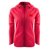 Ladies Tech Fleece Full Zip Hot Pink Hooded Jacket-Waldorf W
