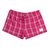 Ladies Dark Fuchsia/White Juniors Flannel Plaid Boxer-Waldorf W