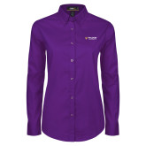Ladies Purple Twill Button Down Long Sleeve-Waldorf W