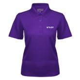 Ladies Purple Dry Mesh Polo-Waldorf University Academic Mark Flat
