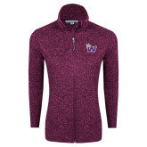 Dark Pink Heather Ladies Fleece Jacket-Waldorf W