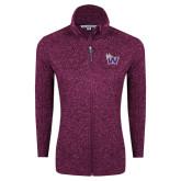 Dark Pink Heather Ladies Fleece Jacket-Waldorf W