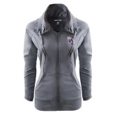 Ladies Sport Wick Stretch Full Zip Charcoal Jacket-Waldorf W