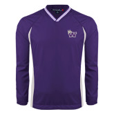 Colorblock V Neck Purple/White Raglan Windshirt-Waldorf W