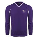 Colorblock V Neck Purple/White Raglan Windshirt-Waldorf W