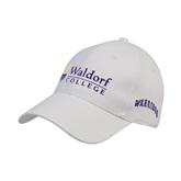 White Heavyweight Twill Pro Style Hat-Waldorf University Academic Mark
