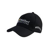 Black Heavyweight Twill Pro Style Hat-Waldorf University Academic Mark Flat
