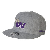 Heather Grey Wool Blend Flat Bill Snapback Hat-Waldorf W