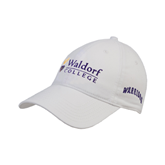 White Twill Unstructured Low Profile Hat-Waldorf University Academic Mark