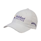 White OttoFlex Unstructured Low Profile Hat-Waldorf University Academic Mark