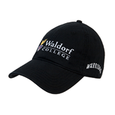 Black Twill Unstructured Low Profile Hat-Waldorf University Academic Mark Flat