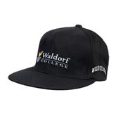 Black OttoFlex Flat Bill Pro Style Hat-Waldorf University Academic Mark Flat