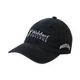 Black OttoFlex Unstructured Low Profile Hat-Waldorf University Academic Mark Flat