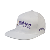 White OttoFlex Flat Bill Pro Style Hat-Waldorf University Academic Mark