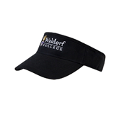 Black Brushed Bull Denim Visor-Waldorf University Academic Mark Flat