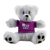 Plush Big Paw 8 1/2 inch White Bear w/Purple Shirt-Waldorf W