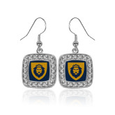 Crystal Studded Square Pendant Silver Dangle Earrings-Lion Head Shield