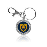 Crystal Studded Round Key Chain-Lion Head Shield