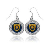 Crystal Studded Round Pendant Silver Dangle Earrings-Lion Head Shield