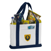 Contender White/Navy Canvas Tote-Lion Head Shield