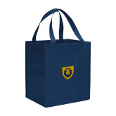 Non Woven Navy Grocery Tote-Lion Head Shield