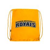 Gold Drawstring Backpack-Arched Warner University Royals