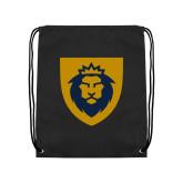 Black Drawstring Backpack-Lion Head Shield