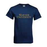 Navy T Shirt-Warner University Stacked