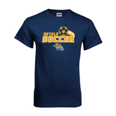 Navy T Shirt-Soccer Swoosh Design