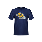 Youth Navy T Shirt-Warner Royals w/ Lion