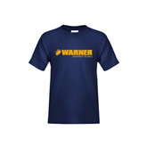 Youth Navy T Shirt-Warner University Royals w/ Lion Head