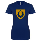 Next Level Ladies SoftStyle Junior Fitted Navy Tee-Lion Head Shield
