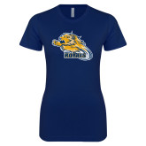 Next Level Ladies SoftStyle Junior Fitted Navy Tee-Flying Lion