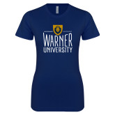 Next Level Ladies SoftStyle Junior Fitted Navy Tee-Warner University