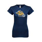 Next Level Ladies SoftStyle Junior Fitted Navy Tee-Warner Royals w/ Lion