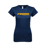 Next Level Ladies SoftStyle Junior Fitted Navy Tee-Warner University Royals w/ Lion Head