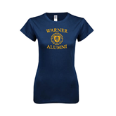 Next Level Ladies SoftStyle Junior Fitted Navy Tee-Warner Alumni