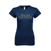 Next Level Ladies SoftStyle Junior Fitted Navy Tee-Warner University Stacked