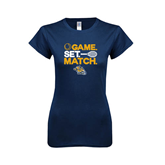 Next Level Ladies SoftStyle Junior Fitted Navy Tee-Game. Set. Match. Tennis Design