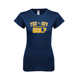 Next Level Ladies SoftStyle Junior Fitted Navy Tee-Track and Field Design
