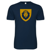 Next Level SoftStyle Navy T Shirt-Lion Head Shield