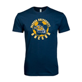 Next Level SoftStyle Navy T Shirt-Soccer Circle Design