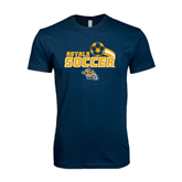Next Level SoftStyle Navy T Shirt-Soccer Swoosh Design