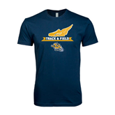 Next Level SoftStyle Navy T Shirt-Track and Field Design