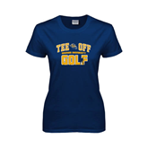 Ladies Navy T Shirt-Track and Field Design